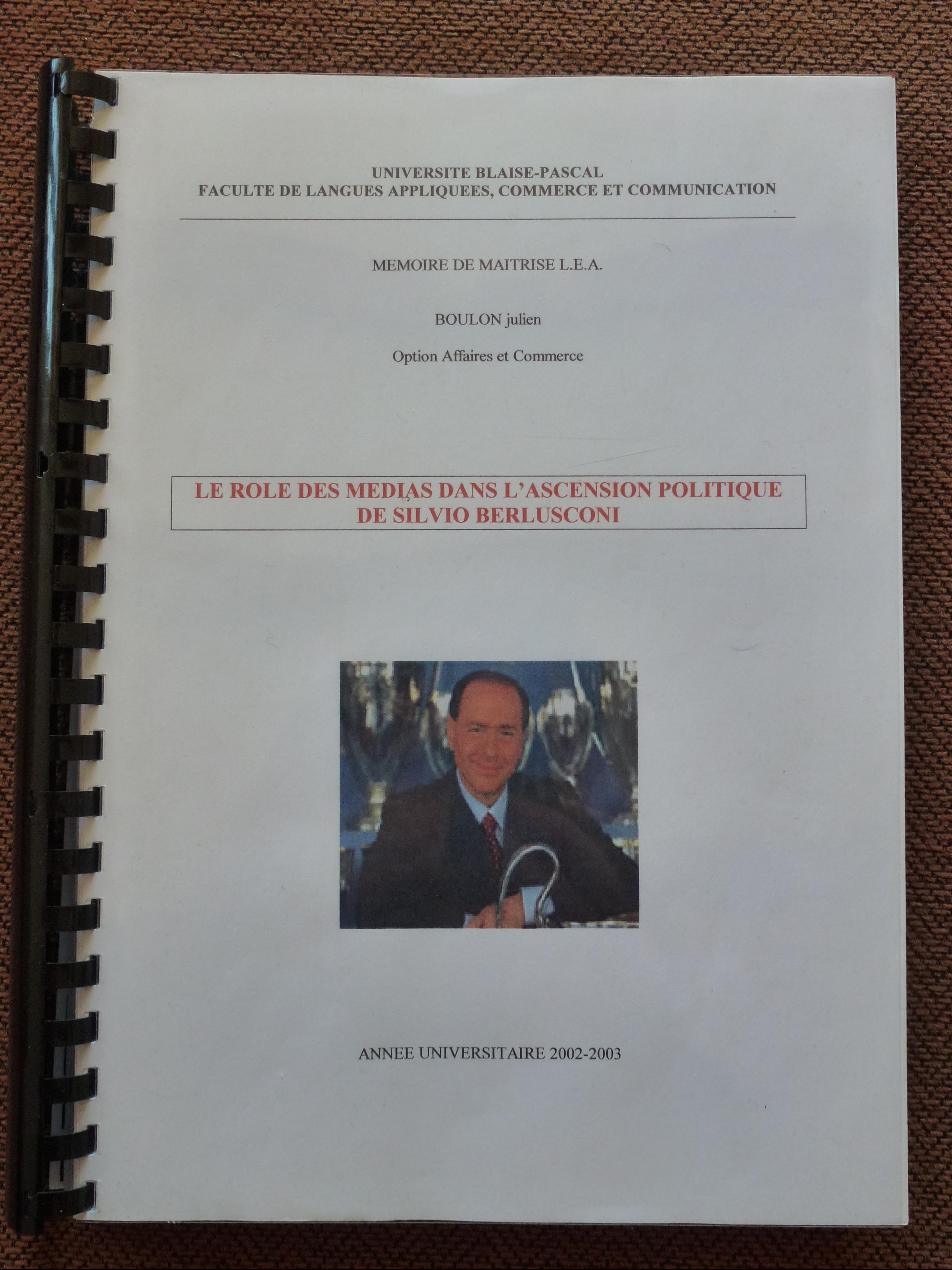 mémoire LEA anglais italien julien boulon traducteur interprète sous-titreur italien français UCA Clermont Auvergne