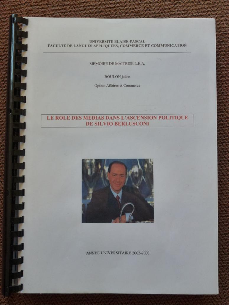 mémoire maîtrise LEA Les mots de Gianni traducteur interprete italien français rôle médias ascension silvio berlusconi